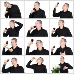 Collage Man tasting a glass of red port wine