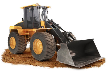 Generic construction bulldozer on dirt with a  white background