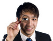 Asian manager with magnify glass