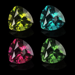 gems isolated on a black background