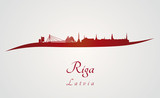 Riga skyline in red