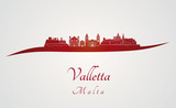 Valletta skyline in red
