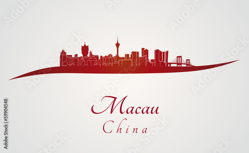 Macau skyline in red