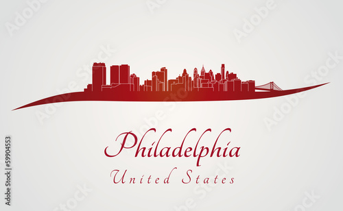Philadelphia skyline in red