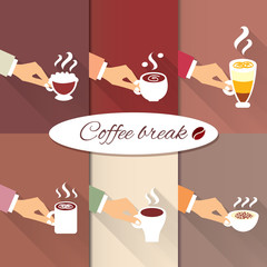 Business hands offering hot coffee drinks
