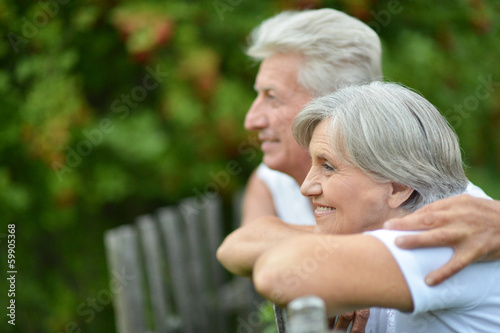 Elderly couple at countryside