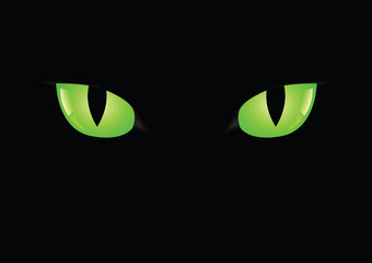 Black cats green eyes on black background