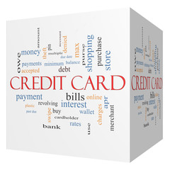 Credit Card 3D Cube Word Cloud Concept
