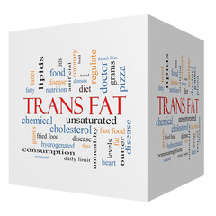 Trans Fat 3D Cube Word Cloud Concept