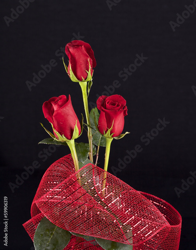 Three red roses and decorative red ribbon on black background