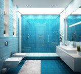 Modern blue bathroom in house