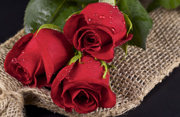 Three red roses and burlap on black background
