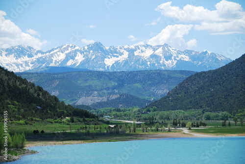 Ridgway reservoir and San Juan Mountains, CO, USA