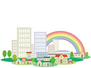 町並み(虹)