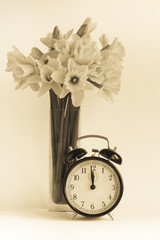 Vintage clock, daffodils, dst.