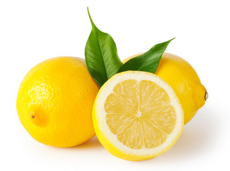 Three lemons with leaves