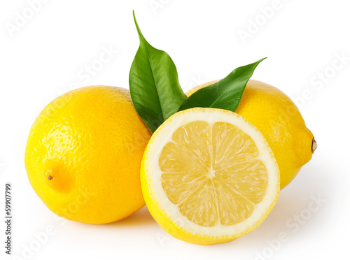 Three lemons with leaves Poster