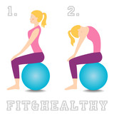 Gym Ball exercises for healthy back. Cat cow exercise.