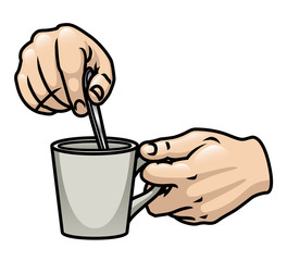 Hands Stirring Coffee