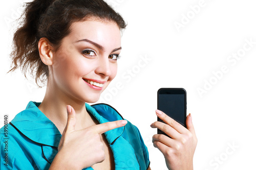 woman point to cell phone