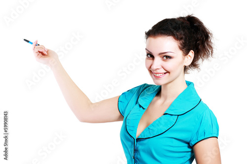 woman pointing and making a presentation