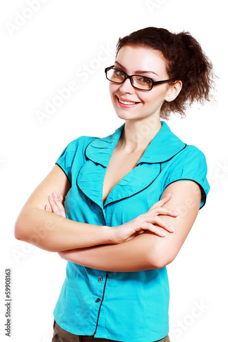Beautiful young woman eyeglasses
