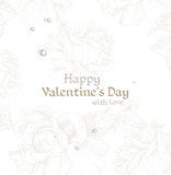 Happy Valentine`s day retro banner with sketch roses