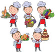 Little chef with food and meals