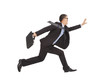 positive businessman running to catch goal
