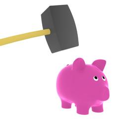 Sparschwein zerschlagen
