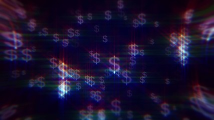 Blue background with iridescent dollar signs
