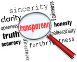 Transparency Word Magnifying Glass Sincerity Openness Clarity poster