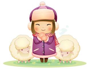 Sheep and girl