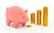 The piggy bank and piles of golden coins on white background