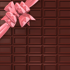 ChocolateBarWithPinkRibbonForBackground