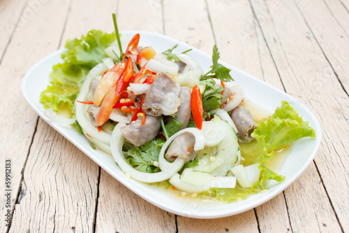 spicy intestines pork salad (thai food)