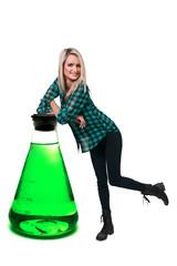 Woman and Laboratory Beaker