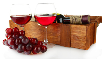 composition of wine,box and grapes isolated on white