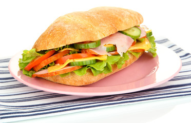 Fresh and tasty sandwich with ham and vegetables isolated
