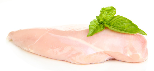 Raw chicken fillets isolated on white