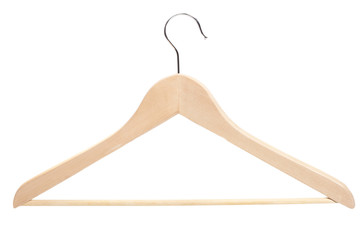 wooden hanger on white background