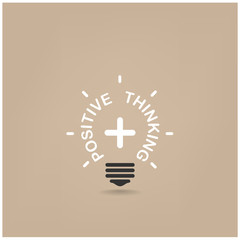 positive thinking lihgt bulb shape