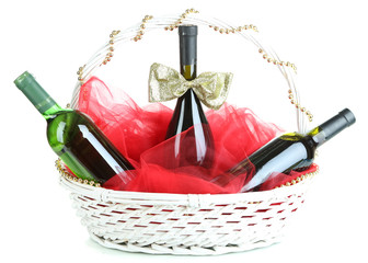 Gift basket with wine isolated on white