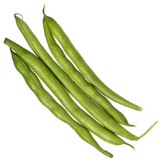 Green beans isolated on white. Top view