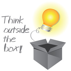 think outside the box, think creative concept