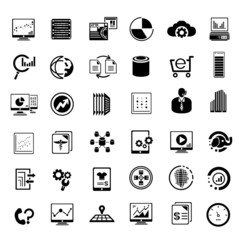 big data management icons set, information technology buttons