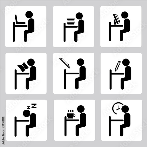office working icons set, sitting man set