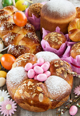 Arrangement of traditional Easter cakes.