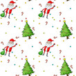 A seamless design showing Santa and the christmas trees