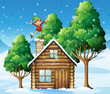 An elf above the wooden house near the trees